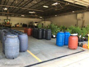 Rain barrels in warehouse