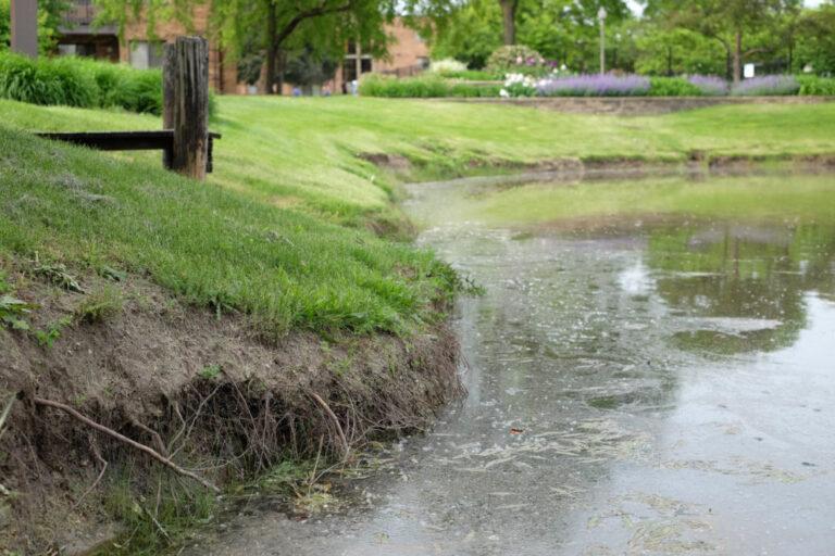 Eroded shoreline around a detention pond