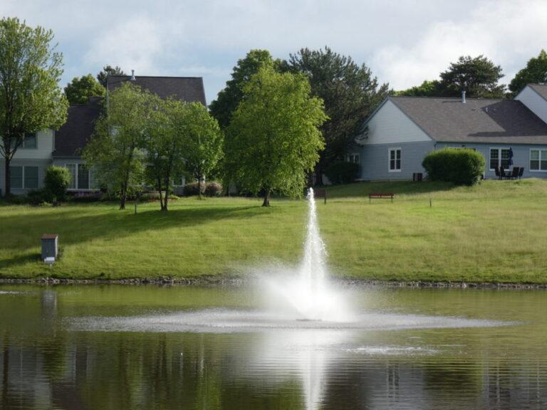 Neighborhood detention basin with fountain